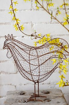 Wired chicken for my kitchen Chicken Wire Art, Chicken Wire Sculpture, Sculpture Art, Wire Sculptures, Animal Sculptures, Fantasy Wire, Art Fil, Recycled Art Projects, Rooster Decor