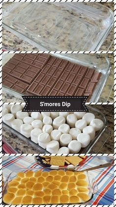 Easy Smores dip to spice up any night! Requires: 5 Hershey chocolate bars, 1 bag of jet puffed marshmallows, Stick of butter or oil for greasing pan, 1 box of Graham crackers for dipping. Grease a × 11 pan with a stick of butter or spray oil. Smores Dessert, Dessert Dips, Dessert Recipes, Smores Cake, Marshmallow Smores, Chocolate Dipped Marshmallows, Hershey Chocolate Bar, Toasted Marshmallow, Chocolate Covered Graham Crackers