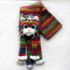 Knitted Cat Scarf Pattern : Knitted cat scarf,Knitted scarf,Animal scarf,Cat scarf,Knit scarf By, On an...