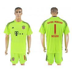 51491c7c2af 2017-18 Football Kit Bayern Munich 1 Neuer Goalkeeper Football Shirt Green