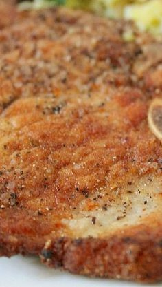 Perfect Fried Pork Chops Recipe ~ These Pork chops are full of flavor and are so easy to make. There's Dinner Tonight!
