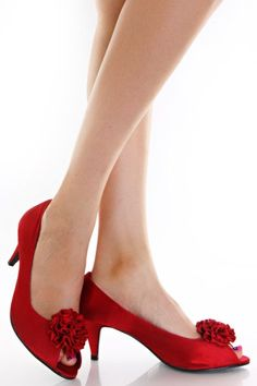 Red peep toe heels