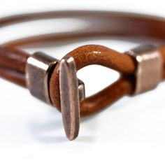 Leather Bracelet Mens Copper