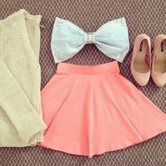 skirt bow pink shoees cardigan high heels blue denim sweater shirt clothes skater skirt brown bow top