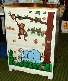 Hand painted custom designed child's dresser by NapTimeArts, $300.00