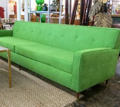 """1960s Danish Modern style sofa, 101"""" long, with new foam and new grass green woven upholstery."""