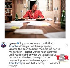 """Tyrese - The Rock Hobbs Movie Beef  Tyrese Gibson is mad at Dwayne """"The Rock"""" Johnson. In the Instagram post below Tyrese warns The Rock that if he moves forward with the Hobbs movie then The Rock ignored the heart to heart moment he had with Tyrese. Dwayne Johnson played Luke Hobbs in 2011's Fast Five 2013's Fast and Furious 6 2015's Furious 7and 2017'sThe Fate of the Furious.  Johnson will play Hobbs in the Fast and Furiousspin-off which will feature Jason Statham. Tyrese isn't feeling the…"""