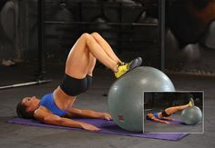 Fit ball hamstring roll-ins for gorgeous lean legs. Read our tips before you start. Correct form is key!