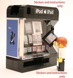 Lego Custom Vending Machine + accessories 10185 10182 Instructions Stickers