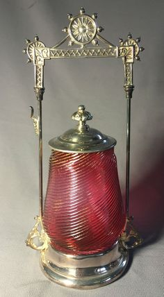Antique Victorian Pickle Castor Twisted Cranberry Glass Albany Silver Plate Co