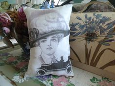 Small Accent Pillow of Fashionable Lady design II with Her Car from Maisonvogue find it at http://www.ebay.com/itm/VINTAGE-RETRO-PRINT-FASHIONABLE-LADY-w-CAR-design-1-SMALL-CUSHI0N-PILLOW-/290728025109?pt=Decorative_Pillows=item43b0bd9c15#ht_1221wt_1165 and on Etsy at https://www.etsy.com/listing/102058315/vintage-retro-print-of-fashionable-lady