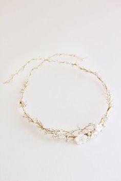 GISELLE crystal and pearl bridal headband | Percy Handmade