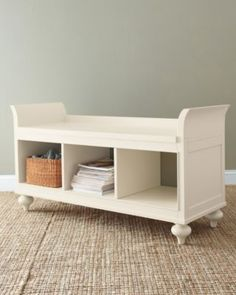 Garnet Hill Smart Color Storage Bench -- this would be great in the upstairs hallway!