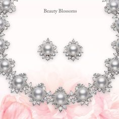 Beauty Blossoms  Emulating a wreath of delicate #flowers, this #Mikimoto #necklace and #earring pair features the opulent White South Sea cultured #pearl. Each pearl is ensconced within a design of glimmering diamond and white gold petals.