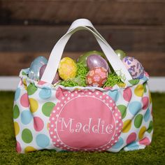 Pastel Dot Pink Circle Name Easter Basket – Lolly Wolly Doodle