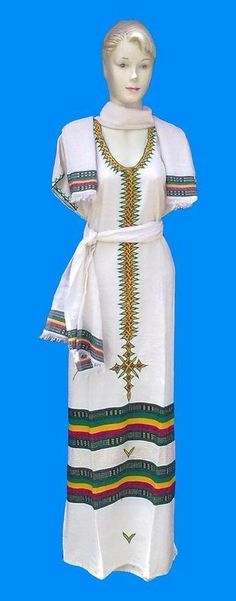 for summer Embroidered Ethiopian Coffee Dress w/ Scarf & Belt - Ethiopian Clothing by CULTUREAPPAREL