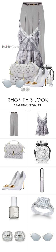 """""""TwinkleDeals"""" by sarahguo ❤ liked on Polyvore featuring Miss Selfridge, Victoria's Secret, Versace, Chantecaille, Essie and Frederic Sage"""