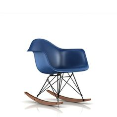 Herman Miller - Eames Molded Fiberglass Armchair with Rocker Base (Ultramarine Blue Seat/Back, Black Base Frame Finish, Solid Walnut Rocker)