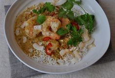 Chiang Mai prawn jungle curry. The curry is a very simple puree of fresh red chili, garlic, ginger, lemongrass, coriander stalks and a little curry powder. It's ridiculously simple to prepare, practically no chopping and there isn't any ingredient you couldn't pick up at the supermarket.