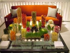 wheat grass- crudite for large coffee table