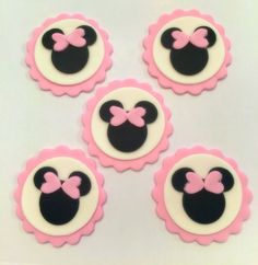 Pink Minnie Mouse Edible Fondant Cupcake Toppers - 12 Pieces by Sugar Love & Happiness on Gourmly