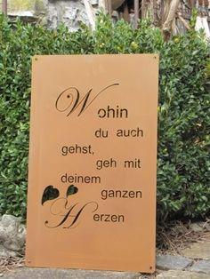 Edelrostschild Lebe Deine Träume mit Pusteblume Spruch Weisheit Schild Garten