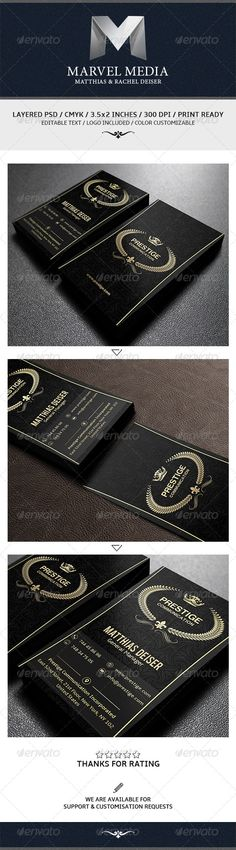 """Gold And Black Business Card  #GraphicRiver        Business Card Creative and clean business card template with modern style. Suitable for any kind of business.                    This card is designed for both corporate business and personal usage. Ready to print Dimension 300 DPI – CMYK 2.0×3.5 (2.25"""" x 3.75"""" with bleed) Color Customizable Easily change the color of each and every elements within few simple steps For help regarding this template, please feel free to contact us through our…"""