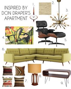 Mad Men: Don and Megan's new penthouse apartment inspiration moodboard