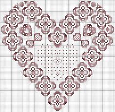 lace heart - coeur dentelle cross Stitch Pattern - can be used for Loom Beadwork  #heartbeadwork  #loombeading