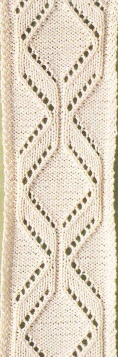 Narrow Diamond lace panel knitting