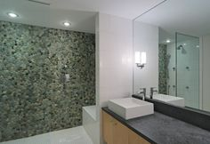 river rock feature wall