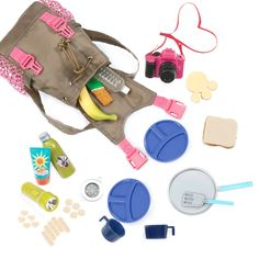 Our Generation® Hiking Accessories - What a Trek Set™ Our Generation Hiking Gear Doll Accessories Ropa American Girl, American Girl Doll Sets, American Girl Crafts, American Doll Stuff, American Girl Accessories, Barbie Accessories, Accessories Online, Og Dolls, Girl Dolls