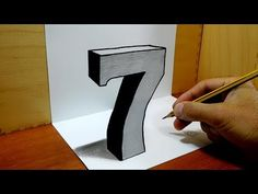 (68) 3D Trick Art on Paper, Number Seven with Graphite Pencil - YouTube