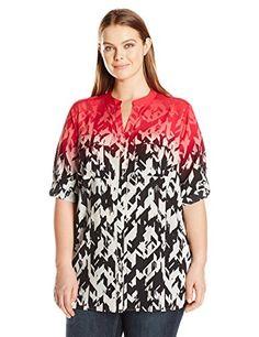 b81740b7ac822 Calvin Klein Womens Plus Size Printed Crew Neck Roll Sleeve Blouse  Watermelon Soft White 2X