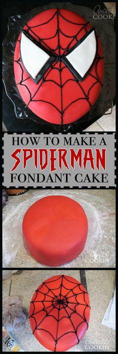 Make an awesome homemade marshmallow fondant Spiderman cake!