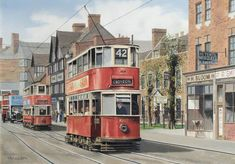 """""""And another one, this time by Robert Calvert, featuring London Tramways double deckers in Croydon. Uk History, London History, Local History, London Bus, Old London, London Transport, Public Transport, Croydon London, London Painting"""