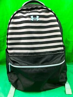 Under Armour UA Favorite Backpack Zippered Black White Striped Tote Backpack, Black Backpack, Black White Stripes, Black And White, Boys Backpacks, Purses For Sale, St Kitts, School Bags, Cambodia