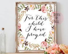 For this child I have prayed, 1 samuel 1 27, baby gift, baby shower gift, nursery decor, bible verse, nursery,printable,1 samuel,nursery art by AdornMyWall on Etsy