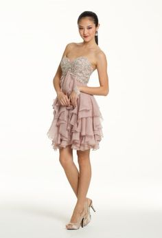 Prom Dresses 2013 - Short Chiffon Dress with Beaded Bodice from Camille La Vie and Group USA
