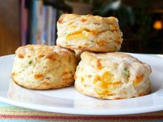 cheddar and scallion biscuits  http://www.seriouseats.com/recipes/2011/04/bread-baking-cheddar-and-scallion-biscuits-recipe.html