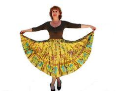 Tribal Circle Skirt Vintage Cotton Skirt by KMalinkaVintage