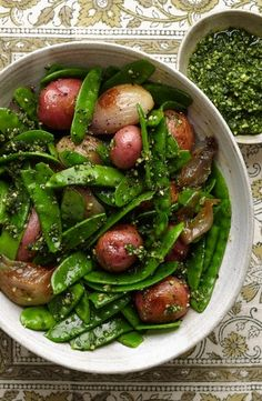 Snow Peas With Yellow Potatoes, Caramelized Shallots and Tarragon Pesto by Sarah Karnasiewicz, wsj: Roasting shallots brings out their sweetness and silkiness and provides the perfect textural contrast to crisp snow peas. #Snow_Peas #Potatoes