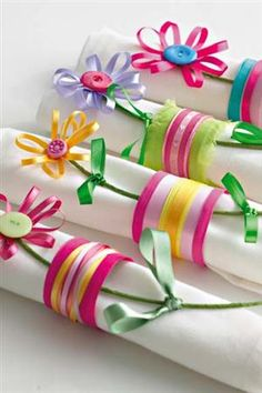 DIY Napkin holders-ribbon and leftover buttons Spring or Mother's Day