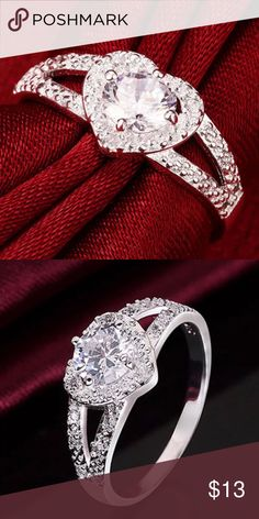 Silver Plated Heart Zircon Ring (Sz 6, 7, 8, 9) Super pretty Fashion Ring. Sizes 6, 7, 8 or 9 Jewelry Rings