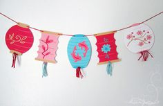 Here's my new printable Paper Lanterns banner in action! I spruced it up a bit with some tassels, and I think it turned out really fun. Chinese New Year Crafts For Kids, Chinese New Year Decorations, Chinese Crafts, New Years Decorations, Art For Kids, New Year's Crafts, Arts And Crafts, Paper Crafts, Japanese Party