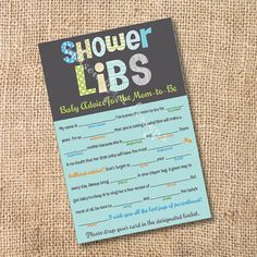 Funky Letters - Boy - Printable Baby Shower Mad Libs Advice for the Mom-to-Be - INSTANT DOWNLOAD on Etsy, $8.00