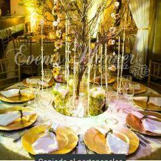 Centros de mesa con willow