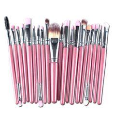20Pcs Pink Handle Wool Brush Set Facial Makeup Power Blush brushes