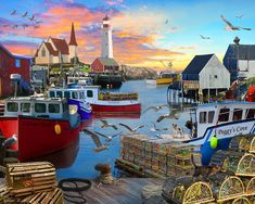 Fishing Cove - 1000pc Jigsaw Puzzle - SeriousPuzzles.com - https://www.seriouspuzzles.com/fishing-cove-1000pc-jigsaw-puzzle/ #lighthouse #boats #nautical #pier  Everyone Should Have A Pair Of These!  http://amzn.to/2vzkFlw