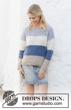 Free knitting patterns and crochet patterns by DROPS Design Jumper Knitting Pattern, Knitting Patterns Free, Knit Patterns, Free Knitting, Clothing Patterns, Drops Design, Knit Fashion, Crochet Clothes, Knit Crochet